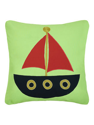 Green Cotton Cushion Cover with Boat Patchwork -16in x 16in