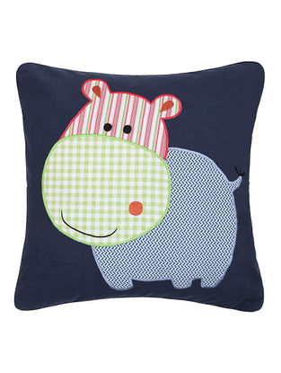 Blue Cotton Cushion Cover with Hippopotamus Patchwork -16in x 16in