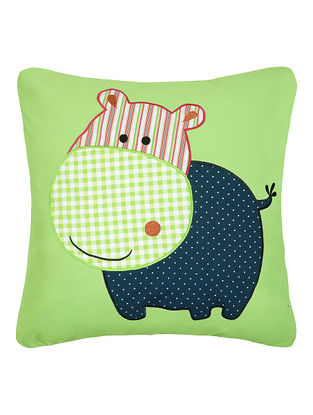 Green Cotton Cushion Cover with Hippopotamus Patchwork -16in x 16in