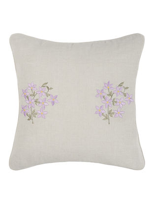 Grey-Purple Embroidered Linen Cushion Cover with Floral Buta (16in x 16in)