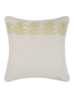 Green- Grey Embroidered Linen Cushion Cover with Floral Buta (16in x 16in)