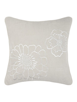 White- Grey Embroidered Linen Cushion Cover with Floral Buta (16in x 16in)