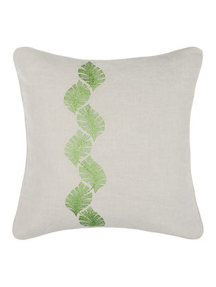 Green-Grey Embroidered Linen Cushion Cover with Floral Buta (16in x 16in)