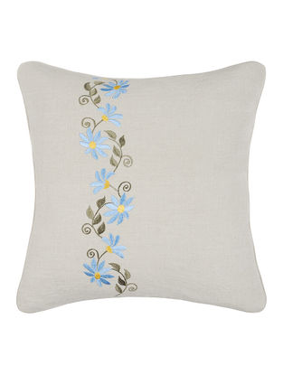 Blue-Grey Embroidered Linen Cushion Cover with Floral Buta (16in x 16in)