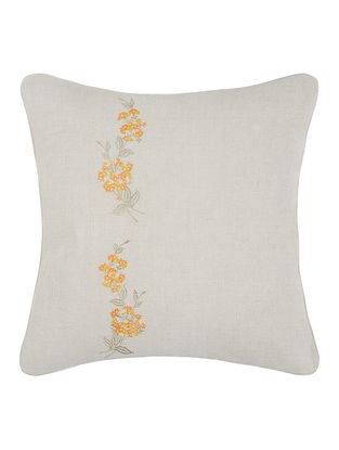 Grey-Orange Embroidered Linen Cushion Cover with Floral Buta (16in x 16in)