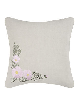 Pink-Green Embroidered Linen Cushion Cover with Floral Buta (16in x 16in)