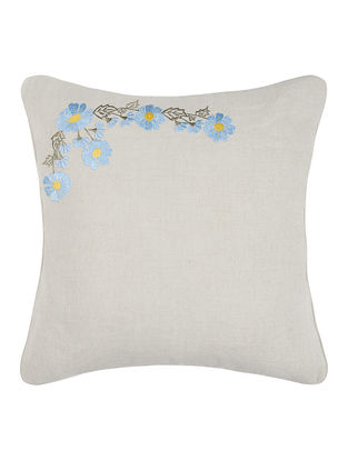 Grey-Blue Embroidered Linen Cushion Cover with Floral Buta (16in x 16in)