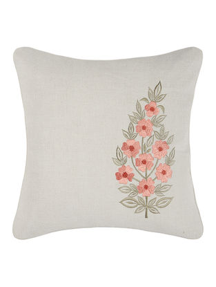 Brown-Green Embroidered Linen Cushion Cover with Floral Buta (16in x 16in)