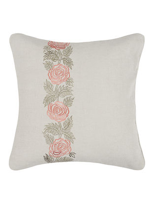 Rust-Green Embroidered Linen Cushion Cover with Floral Buta (16in x 16in)