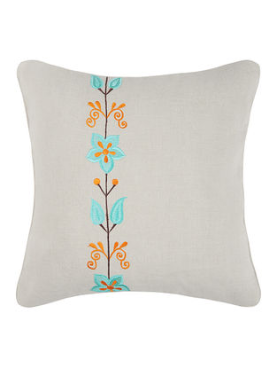 Turquoise-Orange Embroidered Linen Cushion Cover with Floral Buta (16in x 16in)