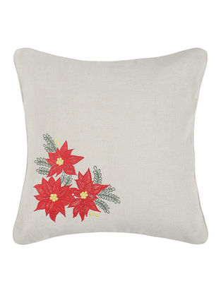 Red-Green Embroidered Linen Cushion Cover with Floral Buta (16in x 16in)