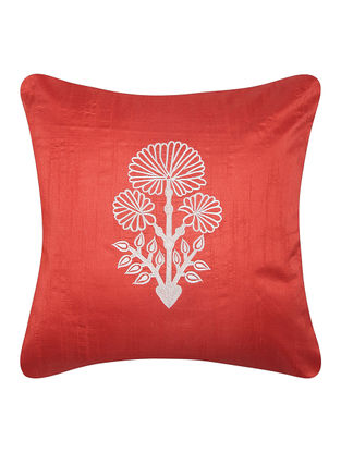 Red-White Dupion Silk Cushion Cover with Floral Design (16in x 16in)