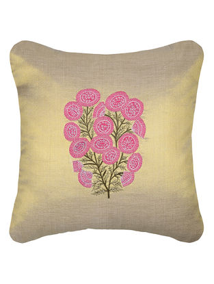 Golden-Pink Embroidered Cotton Tissue Cushion Cover with Patch Work (16in x 16in)
