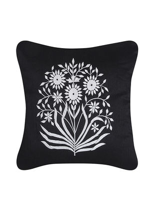 Black-White Embroidered Dupion Silk Cushion Cover (16in x 16in)