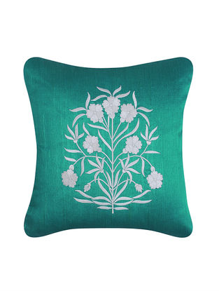 Blue-White Embroidered Cotton Cushion Cover (16in x 16in)
