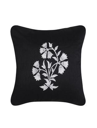 Black-White Embroidered Cotton Cushion Cover (16in x 16in)