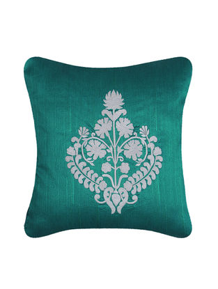 Blue-White Embroidered Dupion Silk Cushion Cover (16in x 16in)