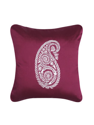 Purple-White Embroidered Dupion Silk Cushion Cover (16in x 16in)