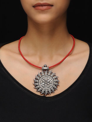 Red Thread Tribal Silver Necklace