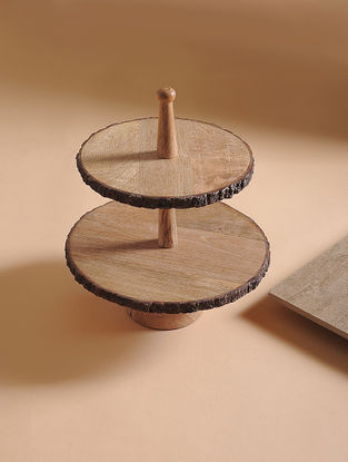 Natural Mango Wood 2 Tier Cake Stand (L:11.3in, W:11.3in, 13.5in)