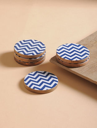 Navy-White Enameled Mango Wood Coasters (Set of 6)