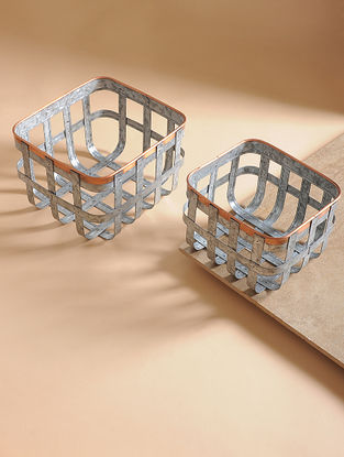 Handcrafted Galvanized Iron and Copper Caddies (Set of 2)