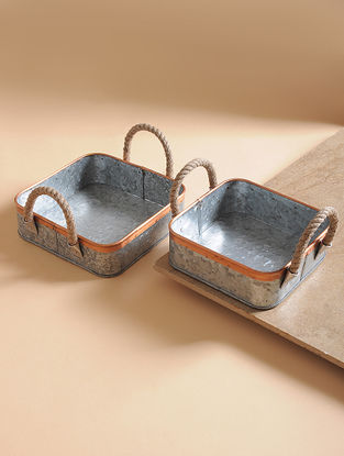 Handcrafted Galvanized Iron and Copper Planters (Set of 2)