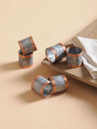 Handcrafted Galvanized Iron and Copper Napkin Rings (Set of 6) (1.5in x 1.5in)