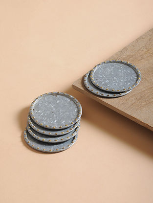 Handcrafted Galvanized Iron and Brass Coasters (Set of 6) (4in x 4in)