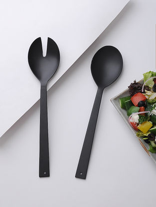 Stainless Steel Salad Server with Black Powder Coated Finish (Set of 2 ) (11in x 2.5in)
