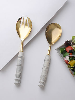 Resin and Stainless Steel Salad Server With Gold Finish (Set of 2 ) (11.6in x 2.6in)