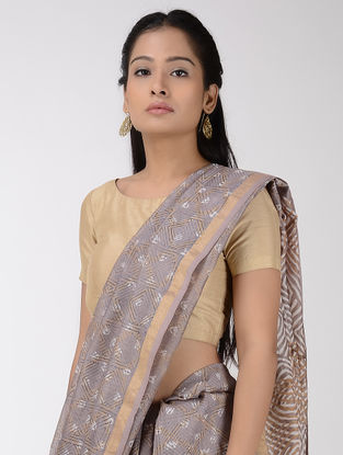 Taupe-Beige Chanderi Discharge-printed Saree with Zari Border