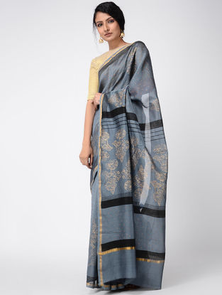 Grey-Black Khari-printed Chanderi Saree with Zari
