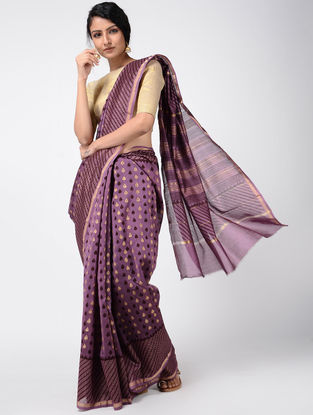 Purple Khari-printed Chanderi Saree with Zari