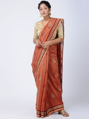 Red Khari-printed Chanderi Saree with Zari