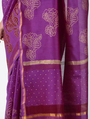 Purple-Red Khari-printed Chanderi Saree with Zari