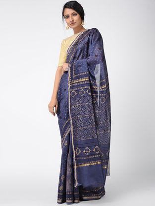 Blue Khari-printed Chanderi Saree with Zari