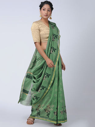 Green Khari-printed Chanderi Saree with Zari