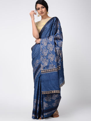 Blue Block-printed Tussar Silk Saree