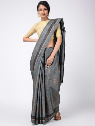 Grey Block-printed Tussar Silk Saree