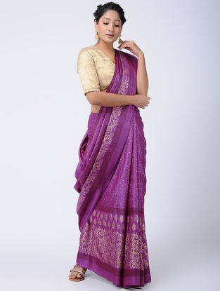Purple Block-printed Tussar Silk Saree