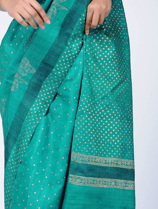 Green Block-printed Tussar Silk Saree