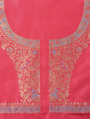 Pink-Blue Benarasi Silk Blouse Fabric
