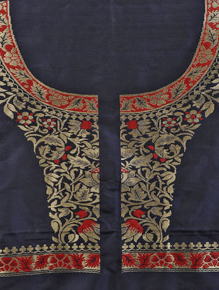 Blue-Red Benarasi Silk Blouse Fabric