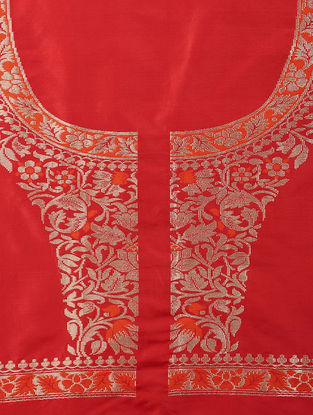 Red-Orange Benarasi Silk Blouse Fabric