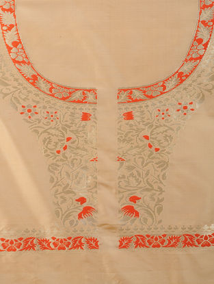 Beige-Orange Benarasi Silk Blouse Fabric