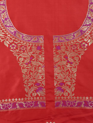 Red-Magenta Benarasi Silk Blouse Fabric