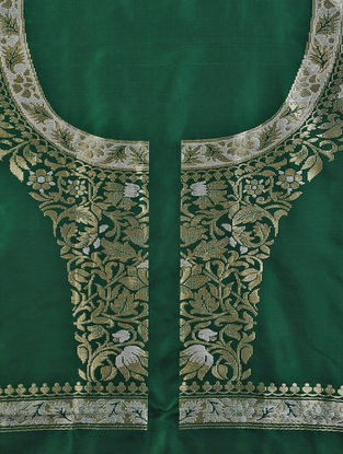 Green Benarasi Silk Blouse Fabric