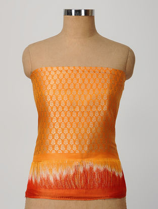 Orange Benarasi Silk Blouse Fabric