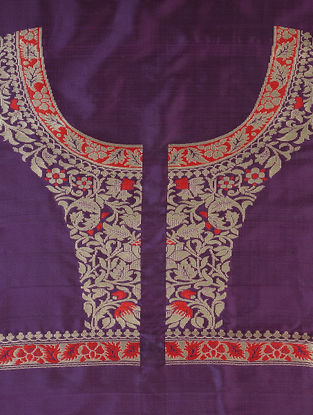 Purple-Red Benarasi Silk Blouse Fabric
